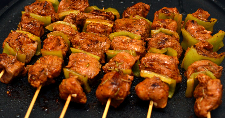 Moroccan lamb kebabs cooking