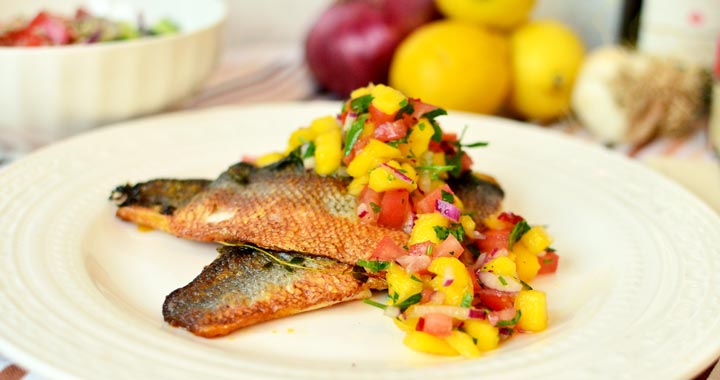 Pan seared sea bass with mango salsa recipe