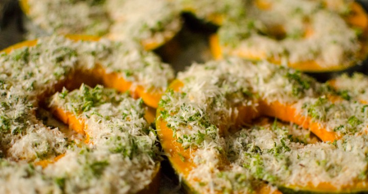 pumpkin wedges with parmesan and herbs